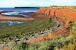 Images of The Canadian Maritime Provinces of Nova Scotia and Prince Edward Island. Red cliffs of Prince Edward Island, Canada.