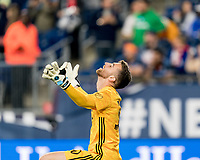 FOXBOROUGH, MA - SEPTEMBER 29: Matt Turner #30 of New England Revolution celebrates victory and clinching a playoff spot during a game between New York City FC and New England Revolution at Gillette Stadium on September 29, 2019 in Foxborough, Massachusetts.