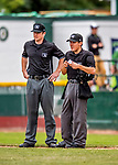 25 July 2017: Minor League Umpires Chad Dixon (left) and Roberto Pattison (right) chat between innings of a game between the Tri-City ValleyCats and the Vermont Lake Monsters at Centennial Field in Burlington, Vermont. The Lake Monsters defeated the ValleyCats 11-3 in NY Penn League action. Mandatory Credit: Ed Wolfstein Photo *** RAW (NEF) Image File Available ***