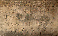 Inscription from a Roman altar to Discipline or La Disciplina, found in 1951 in the House of Disciplinae to the East of the Palace of Gordian, Volubilis, Northern Morocco. Volubilis was founded in the 3rd century BC by the Phoenicians and was a Roman settlement from the 1st century AD. Volubilis was a thriving Roman olive growing town until 280 AD and was settled until the 11th century. The buildings were largely destroyed by an earthquake in the 18th century and have since been excavated and partly restored. Volubilis was listed as a UNESCO World Heritage Site in 1997. Picture by Manuel Cohen