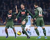 11th January 2020; Stadio Olympico, Rome, Italy; Serie A Football, Lazio versus Napoli; Fabian Ruiz of Napoli comes forward on the ball supported by Piotr Zielinski  - Editorial Use