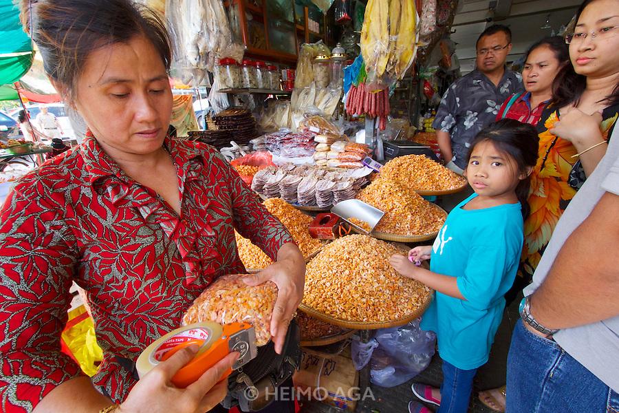 Phnom Penh, Cambodia. Central Market. Dried shrimps.