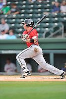 Center fielder Alex Call (2) of the Kannapolis Intimidators bats in a game against the Greenville Drive on Thursday, Aug. 18, 2016, at Fluor Field at the West End in Greenville, South Carolina. Greenville won, 2-0. (Tom Priddy/Four Seam Images)