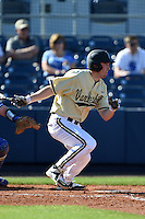 Vanderbilt Commodores outfielder Nolan Rogers (18) at bat during a game against the Indiana State Sycamores on February 21, 2015 at Charlotte Sports Park in Port Charlotte, Florida.  Indiana State defeated Vanderbilt 8-1.  (Mike Janes/Four Seam Images)
