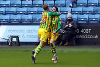 Filip Krovinovic of West Bromwich Albion is congratulated after scoring the first goal during Millwall vs West Bromwich Albion, Sky Bet EFL Championship Football at The Den on 9th February 2020
