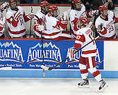 Evan Rodrigues (BU - 17) - Jake Moscatel (BU - 14), Ben Rosen (BU - 8), Mike Moran (BU - 11), Sam Kurker (BU - 16), Matt Lane (BU - 23) - The Boston University Terriers defeated the visiting Northeastern University Huskies 5-0 on senior night Saturday, March 9, 2013, at Agganis Arena in Boston, Massachusetts.