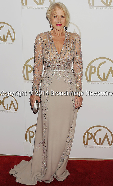 Pictured: Helen Mirren<br /> Mandatory Credit &copy; Joseph Gotfriedy/Broadimage<br /> 25th Annual Producers Guild Awards<br /> <br /> 1/19/14, Beverly Hills, California, United States of America<br /> <br /> Broadimage Newswire<br /> Los Angeles 1+  (310) 301-1027<br /> New York      1+  (646) 827-9134<br /> sales@broadimage.com<br /> http://www.broadimage.com