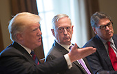 United States Secretary of Defense James Mattis listens to President Donald j. Trump speak during a luncheon with the Baltic States Heads of Government at The White House in Washington, DC, April 3, 2018. <br /> Credit: Chris Kleponis / Pool via CNP