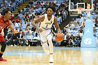 CHAPEL HILL, NC - NOVEMBER 01: Rechon Leaky Black #1 of the University of North Carolina brings the ball up the court during a game between Winston-Salem State University and University of North Carolina at Dean E. Smith Center on November 01, 2019 in Chapel Hill, North Carolina.