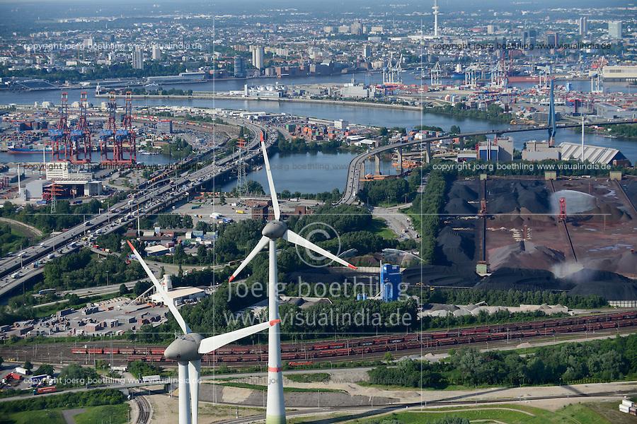 GERMANY Hamburg, aerial view of port, river Elbe and two 6 MW Enercon E-126 windmills infront of coal and ore harbour Hansaport / DEUTSCHLAND Hamburg Hafen, Suederelbe, Zwei Enercon E-126 mit 6 MW Windkraftanlagen in Altenwerder vor Hansaport Kohlehafen und Koehlbrand Bruecke