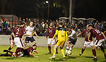 22.11.2019 Linlithgow Rose v Falkirk: Declan McManus scores from an offside position and his effort is disallowed