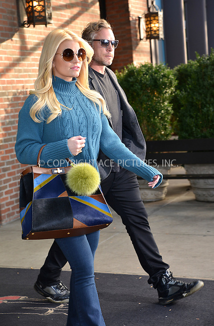 WWW.ACEPIXS.COM<br /> <br /> November 9 2015, New York City<br /> <br /> Jessica Simpson and Eric Johnson  leave a downtown hotel on November 9 2015 in New York City<br /> <br /> By Line: Curtis Means/ACE Pictures<br /> <br /> <br /> ACE Pictures, Inc.<br /> tel: 646 769 0430<br /> Email: info@acepixs.com<br /> www.acepixs.com