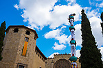 Castellers - Catalan human towers in Placa Octavia, Sant Cugat del Valles, bear Barcelona, Catalonia.
