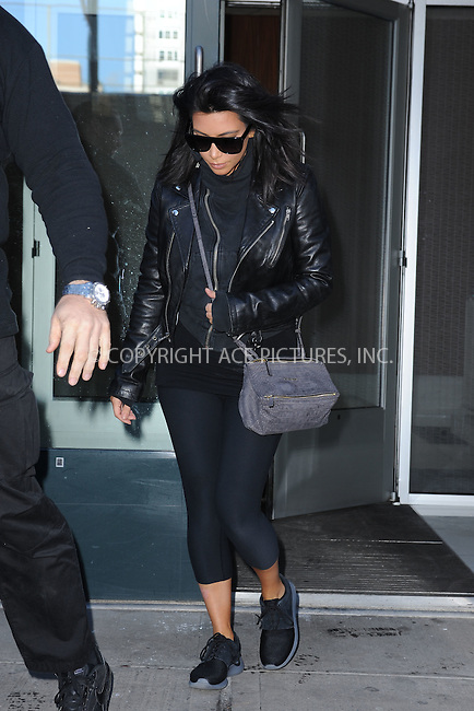 WWW.ACEPIXS.COM<br /> February 11, 2015 New York City<br /> <br /> Kim Kardashian leaving her apartment in New York City on February 11, 2015.<br /> <br /> By Line: Kristin Callahan/ACE Pictures<br /> ACE Pictures, Inc.<br /> tel: 646 769 0430<br /> Email: info@acepixs.com<br /> www.acepixs.com