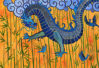 Chinese dragon with blue birds and bamboo