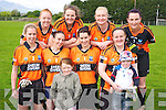 Linda O'Connor, Majella O'Sullivan, Emer O'Sullivan, Michelle O'Sullivan, Geraldine Doyle, Caroline Taylor, Betty Cremin and Nora Mai O'Brien, Sneem/Kenmare with mascots Sarah Taylor and Paddy O'Sullivan who took part in the Over 25's football blitz in Kilcummin on Monday. Missing from the photo is Suzanne Teahan. ................