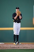 Bradenton Marauders starting pitcher Cam Vieaux (55) gets ready to deliver a pitch during a game against the Dunedin Blue Jays on May 2, 2018 at LECOM Park in Bradenton, Florida.  Bradenton defeated Dunedin 6-3.  (Mike Janes/Four Seam Images)