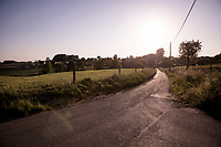 typical flemish country road (ideal for cycling) at dusk<br /> <br /> Cycling in Flanders (BEL)<br /> cycling hotspots in Brabant<br /> <br /> ©kramon