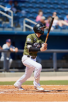 Biloxi Shuckers third baseman Lucas Erceg (17) follows through on a swing during a game against the Jacksonville Jumbo Shrimp on May 6, 2018 at MGM Park in Biloxi, Mississippi.  Biloxi defeated Jacksonville 6-5.  (Mike Janes/Four Seam Images)