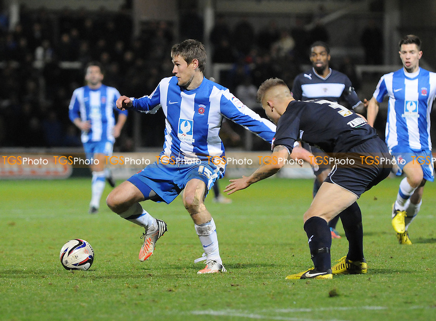 Hartlepool United 's Anthony Sweeney battles with Stevenage's Lee Hills - Hartlepool United vs Stevenage - NPower League One Football at Victoria Park, Hartlepool - 08/12/12 - MANDATORY CREDIT: Steven White/TGSPHOTO - Self billing applies where appropriate - 0845 094 6026 - contact@tgsphoto.co.uk - NO UNPAID USE.
