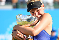 Winner Donna Vekic (CRO) during the prize presentation of the WTA Singles Final. Beating Johanna Konta (GBR) (1) on Centre Court, at the Aegon Open Nottingham, Nottingham Tennis Centre, Nottingham, UK, 18th June 2017