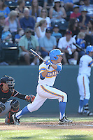 Ty Moore (29) of the UCLA Bruins bats during a game against the Oregon State Beavers at Jackie Robinson Stadium on April 4, 2015 in Los Angeles, California. UCLA defeated Oregon State, 10-5. (Larry Goren/Four Seam Images)