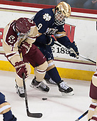 Connor Moore (BC - 7), Dawson Cook (Notre Dame - 9) - The Boston College Eagles defeated the University of Notre Dame Fighting Irish 6-4 (EN) on Saturday, January 28, 2017, at Kelley Rink in Conte Forum in Chestnut Hill, Massachusetts.The Boston College Eagles defeated the University of Notre Dame Fighting Irish 6-4 (EN) on Saturday, January 28, 2017, at Kelley Rink in Conte Forum in Chestnut Hill, Massachusetts.