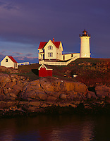 York County, ME<br /> Cape Neddick (&quot;Nubble&quot;) Light Station (1879) under approaching storm clouds