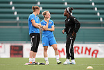 26 August 2011: Nicole Barnhart (left) and Amy Rodriguez (center) with Danesha Adams (right). The Philadelphia Independence held a training session at Sahlen's Stadium in Rochester, New York the day before playing in the Women's Professional Soccer championship game.
