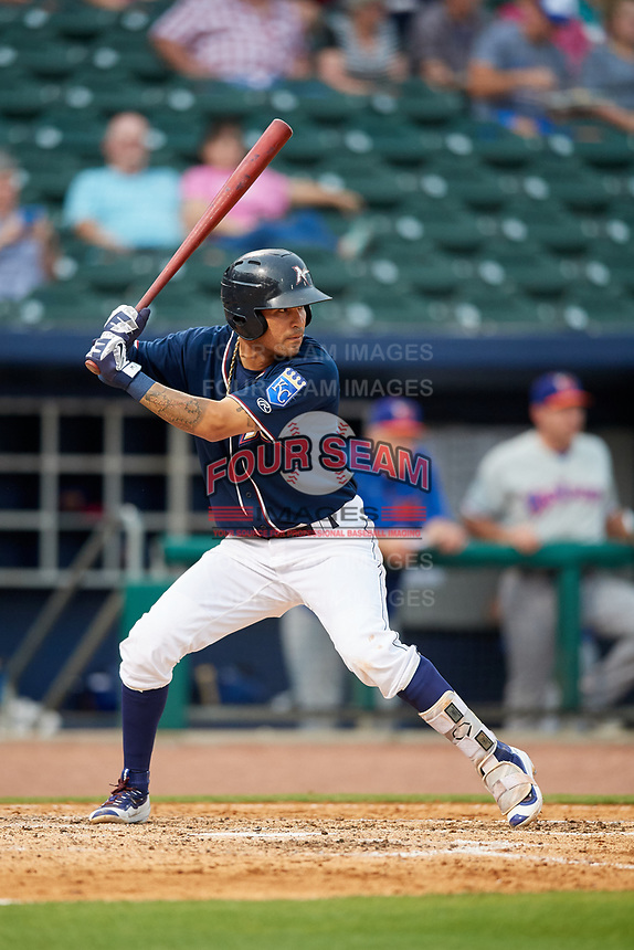 Northwest Arkansas Naturals shortstop Humberto Arteaga (6) at bat during a game against the Midland RockHounds on May 27, 2017 at Arvest Ballpark in Springdale, Arkansas.  NW Arkansas defeated Midland 3-2.  (Mike Janes/Four Seam Images)