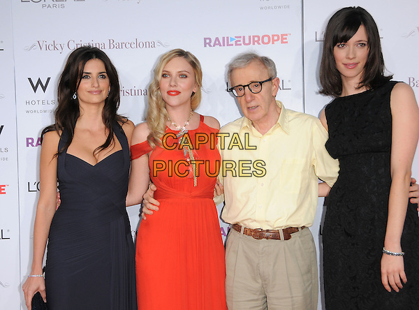 PENELOPE CRUZ, SCARLETT JOHANSSON, WOODY ALLEN & REBECCA HALL.attends The Weinstein Company L.A. Premiere of Vicky Cristina Barcelona held at The Mann's Village Theatre in Westwood, California, USA,.August 2nd 2008                                                                     .half length black dress pleated pleats  clutch bag halterneck red gold necklace director glasses cream shirt cast.CAP/DVS.©Debbie VanStory/Capital Pictures
