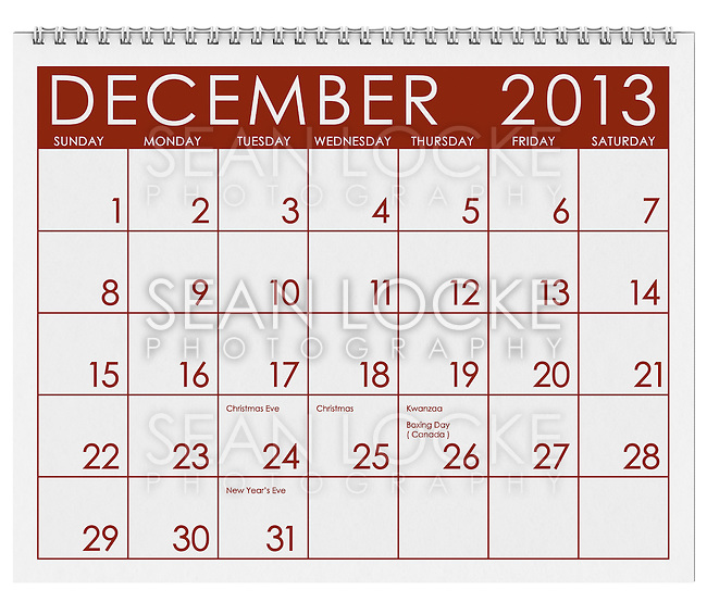 Series of 3d rendered calendar pages for 2013.