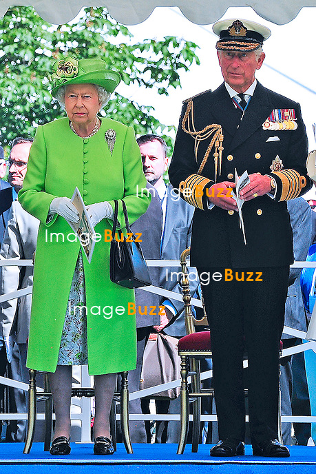 THE QUEEN ELIZABETH II, DUKE OF EDINBURGH, PRINCE CHARLES AND CAMILLA<br /> attend a multi-national Service of Remembrance held at the Commonwealth War Graves Commission (CWGC) cemetery in Bayeux.<br /> France, Bayeux, June 6, 2014.
