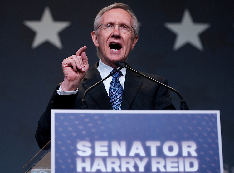 UNITED STATES - NOVEMBER 2: Senate Majority Leader Harry Reid, D-Nev., delivers his vistory speech at the Bristlecone Ballroom at the ARIA Resort & Casino in Las Vegas on election day, Tuesday, Nov. 2, 2010. (Photo By Bill Clark/Roll Call via Getty Images)