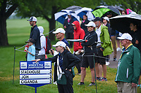 Fans brave the rain near the green on 1 during round 4 of the KPMG Women's PGA Championship, Hazeltine National, Chaska, Minnesota, USA. 6/23/2019.<br /> Picture: Golffile | Ken Murray<br /> <br /> <br /> All photo usage must carry mandatory copyright credit (© Golffile | Ken Murray)