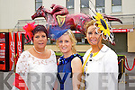 Ann Ryan, Helina Brennan and Geraldine Parker, Kilflynn at the Anthony Ryan Galway Races Ladies Day on Thursday.