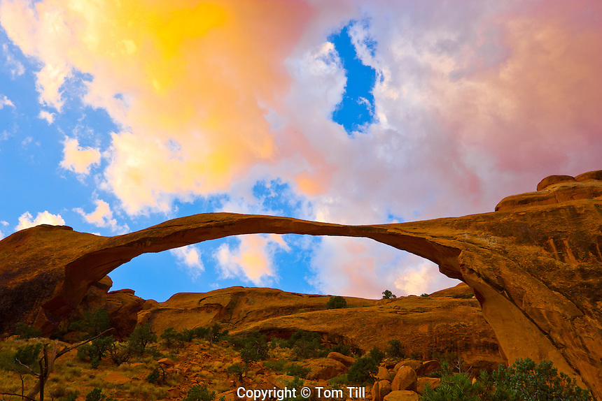 Landscape Arch, Arches National Park, Utah   One of the world's longest natural spans    Devils Garden