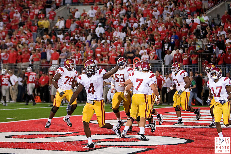 12 September 2009:  Football -- USC running back Joe McKnight (4) celebrates a successful two-point conversion at the end of their game against Ohio State at Ohio Stadium in Columbus.  USC won 18-15.  Photo by Christopher McGuire.