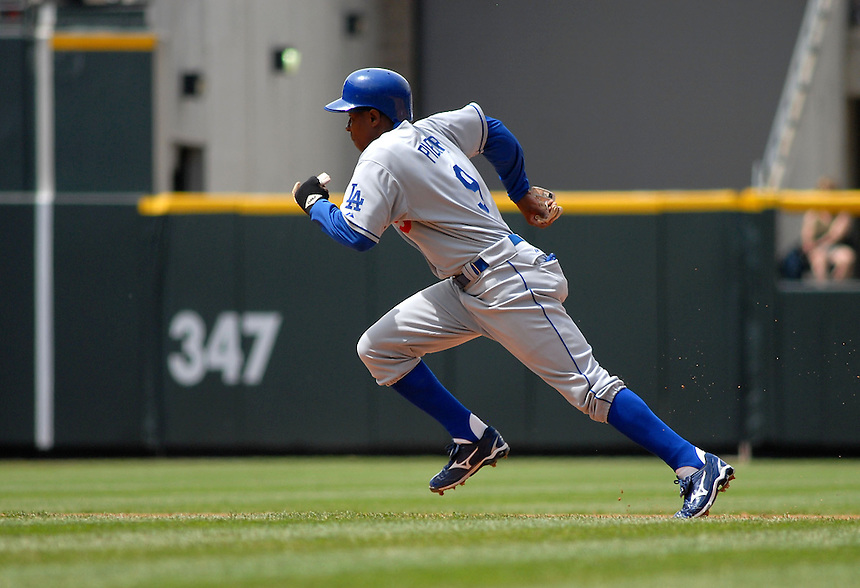 Los Angeles Dodgers outfielder Juan Pierre during a Game against the Colorado Rockies at Coors Field in Denver, CO on May 4, 2008.