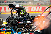 Jul 19, 2020; Clermont, Indiana, USA; Detailed view of the engine of the dragster of NHRA top fuel driver Antron Brown during the Summernationals at Lucas Oil Raceway. Mandatory Credit: Mark J. Rebilas-USA TODAY Sports