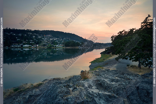 Nanaimo city, Pipers Lagoon park sea shore sunset scenery, Vancouver Island, British Columbia, Canada. Image © MaximImages, License at https://www.maximimages.com