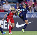 Cary, NC - Saturday April 22, 2017: Debinha, Amandine Henry during a regular season National Women's Soccer League (NWSL) match between the North Carolina Courage and the Portland Thorns FC at Sahlen's Stadium at WakeMed Soccer Park.<br /> *** This photo is available at ISIphotos.com ***