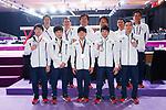 Japan team group (JPN), <br /> AUGUST 22, 2018 - Artistic Gymnastics : <br /> Men's Team Medal Ceremony <br /> at JIEX Kemayoran Hall D <br /> during the 2018 Jakarta Palembang Asian Games <br /> in Jakarta, Indonesia. <br /> (Photo by Naoki Morita/AFLO SPORT)