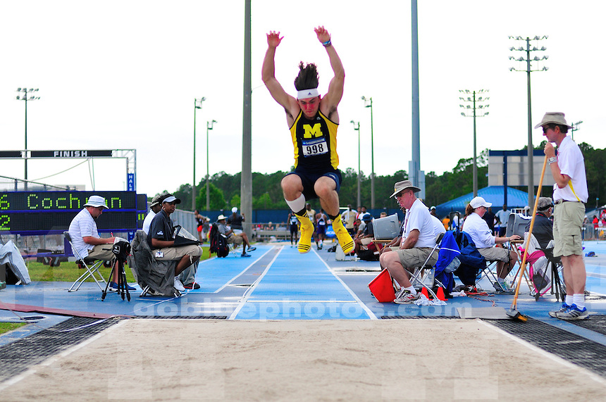 The University of Michigan Men's Track and Field team compete on the first day of the 2014 NCAA Outdoor Track and Field Regional Championships. Jacksonville, FL. May 29, 2014