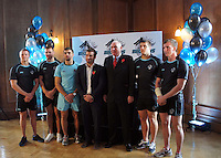 PICTURE BY STEVEN DEVONSHIRE/SWPIX.COM...Rugby League - Super League - London Broncos Rebranding Launch - London, England - 01/11/11…(L-R) London Broncos players Jamie O'Callaghan, Liam Colbon, Chris Melling, Head Coach Rob Powell, Chairman David Hughes, Tony Clubb and Daniel Sarginson announce the rebranding and name change of Harlequins RL to London Broncos.