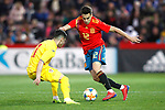 Romania's Valentin Gheorghe  and Spain's Sergio Reguilon   during the International Friendly match on 21th March, 2019 in Granada, Spain. (ALTERPHOTOS/Alconada)