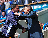 Huddersfield Town manager David Wagner, left, and Sheffield Wednesday manager Carlos Carvalhal <br /> <br /> Photographer Chris Vaughan/CameraSport<br /> <br /> The EFL Sky Bet Championship Play-Off Semi Final First Leg - Huddersfield Town v Sheffield Wednesday - Saturday 13th May 2017 - The John Smith's Stadium - Huddersfield<br /> <br /> World Copyright &copy; 2017 CameraSport. All rights reserved. 43 Linden Ave. Countesthorpe. Leicester. England. LE8 5PG - Tel: +44 (0) 116 277 4147 - admin@camerasport.com - www.camerasport.com