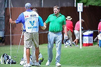 Steve Marino (USA) shakes hands with David Hearn (CAN) after round 1 of the Valero Texas Open, AT&amp;T Oaks Course, TPC San Antonio, San Antonio, Texas, USA. 4/20/2017.<br /> Picture: Golffile | Ken Murray<br /> <br /> <br /> All photo usage must carry mandatory copyright credit (&copy; Golffile | Ken Murray)
