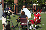 Michael Willis, Washington State University wide receiver, does a television interview with Fox Sports Northwest following football practice in Pullman, Washington, on August 10, 2008.
