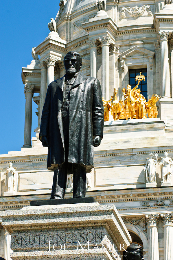 Statue of Knute Nelson located on the front steps of the Minnesota state capitol in Saint Paul, Minnesota.  He served as Douglas County attorney (1872-1874), Minnesota state senator (1875-1878), presidential elector (1880), University of Minnesota regent (1882-1893), and fifth district representative to Congress (1883-1889). He was elected governor of Minnesota in 1892 and 1894, which post he resigned in 1895 to run successfully for the United States Senate, where he remained until 1923. Nelson was chairman of the Senate judiciary committee and the senate committee on public lands, and was active on the commerce and Indian affairs committees.